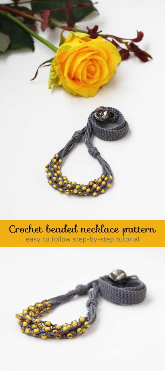 Crochet Jewelry Pattern Pdf Tutorial How To Make A Beaded Crochet