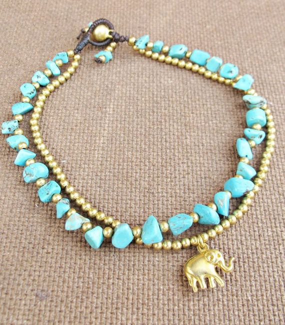 Turquoise Ankle Bracelet Double Strands Turquoise by Summerwrist