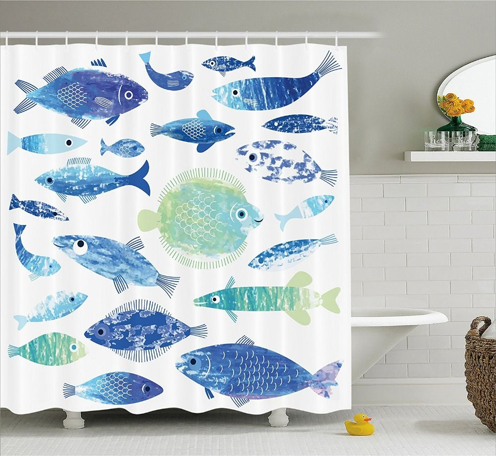 Ocean Animal Shower Curtain Artisan Fish Patterns with Wave Lines ...