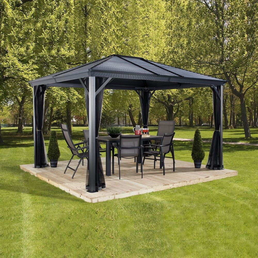 Patio Gazebo 10x10 Outdoor Backyard Hardtop Steel Roof Mosquito Netting Garden Sojag Patio Gazebo Gazebo Pergola