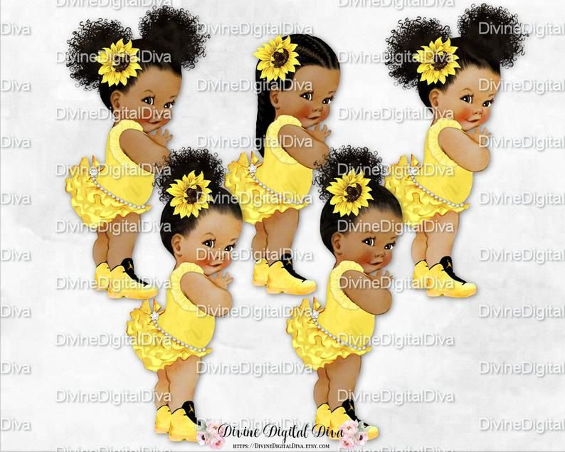 Clipart Instant Download Baby Girl Babies of Color Queen Bee Princess Yellow Black Gold Crown Wings
