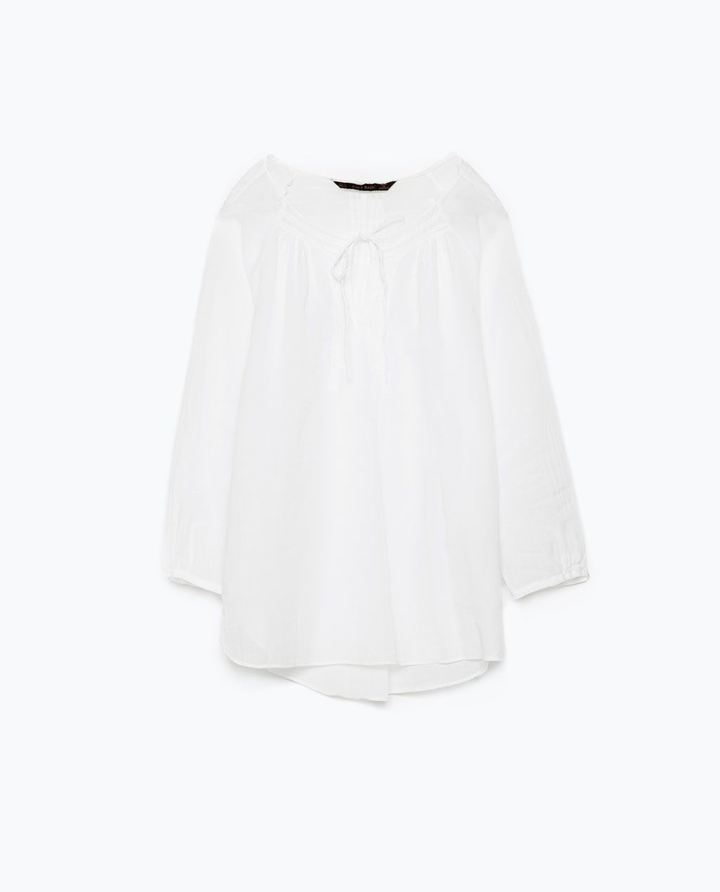 e03544966d COTTON VOILE AND RAMIE BLOUSE WITH LACE DETAILS - Tops - WOMAN ...