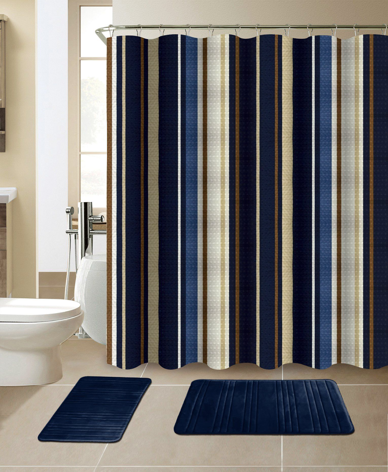 All American Collection New 15 Piece Bathroom Mat Set Memory Foam