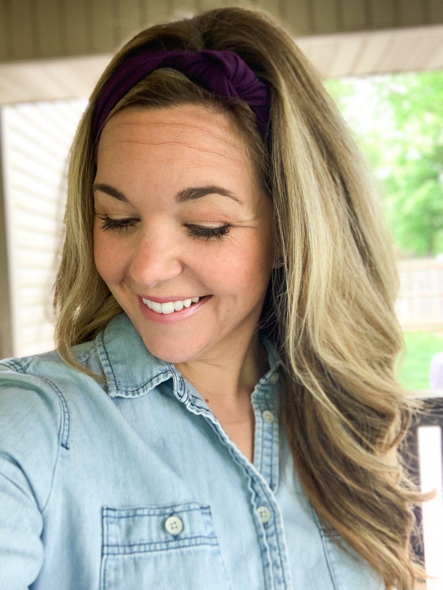 Purple Knot Headband - Wide Headband - Womens Headband - Yoga Headband- Headbands for Women - Nurse Headband - Boho