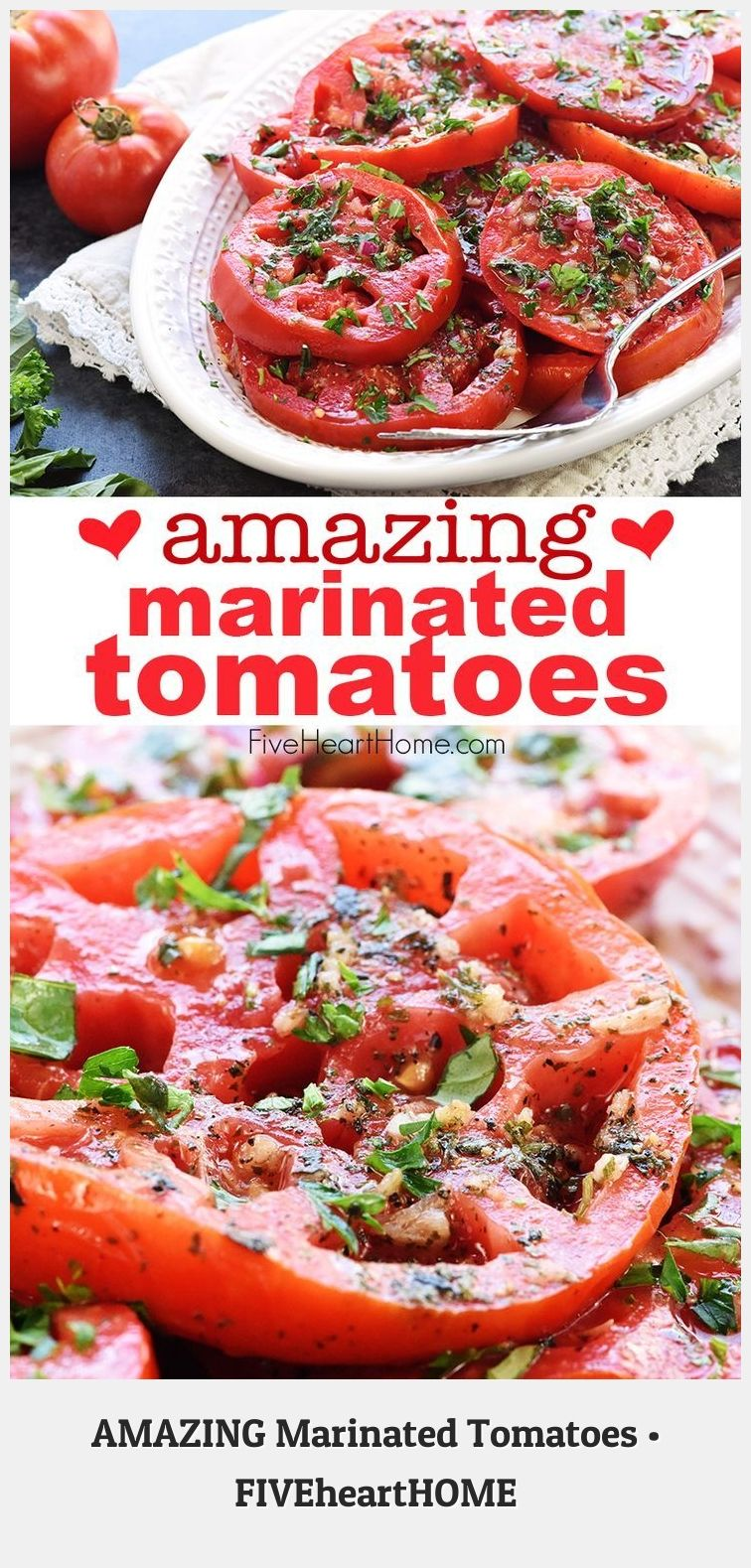 Side Dish Recipes 91882 Ripe Juicy Tomatoes Soak Up Olive Oil Red Wine Vinegar Onion Garlic Fresh H In 2020 Marinated Tomatoes Zesty Summer Salad Juicy Tomatoes