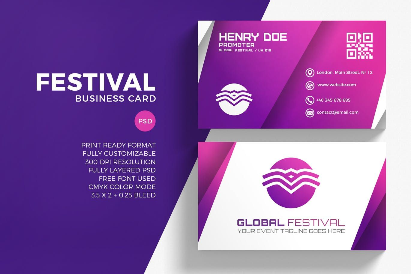 Festival Business Card Template Psd  Business Card Templates