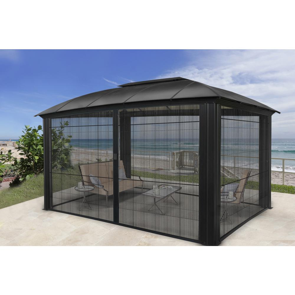 Paragon Outdoor Paragon 12 Ft X 16 Ft Aluminum Hard Top Gazebo With Sliding Screen Gz3dxls The Home Depot Aluminum Gazebo Gazebo Patio Gazebo