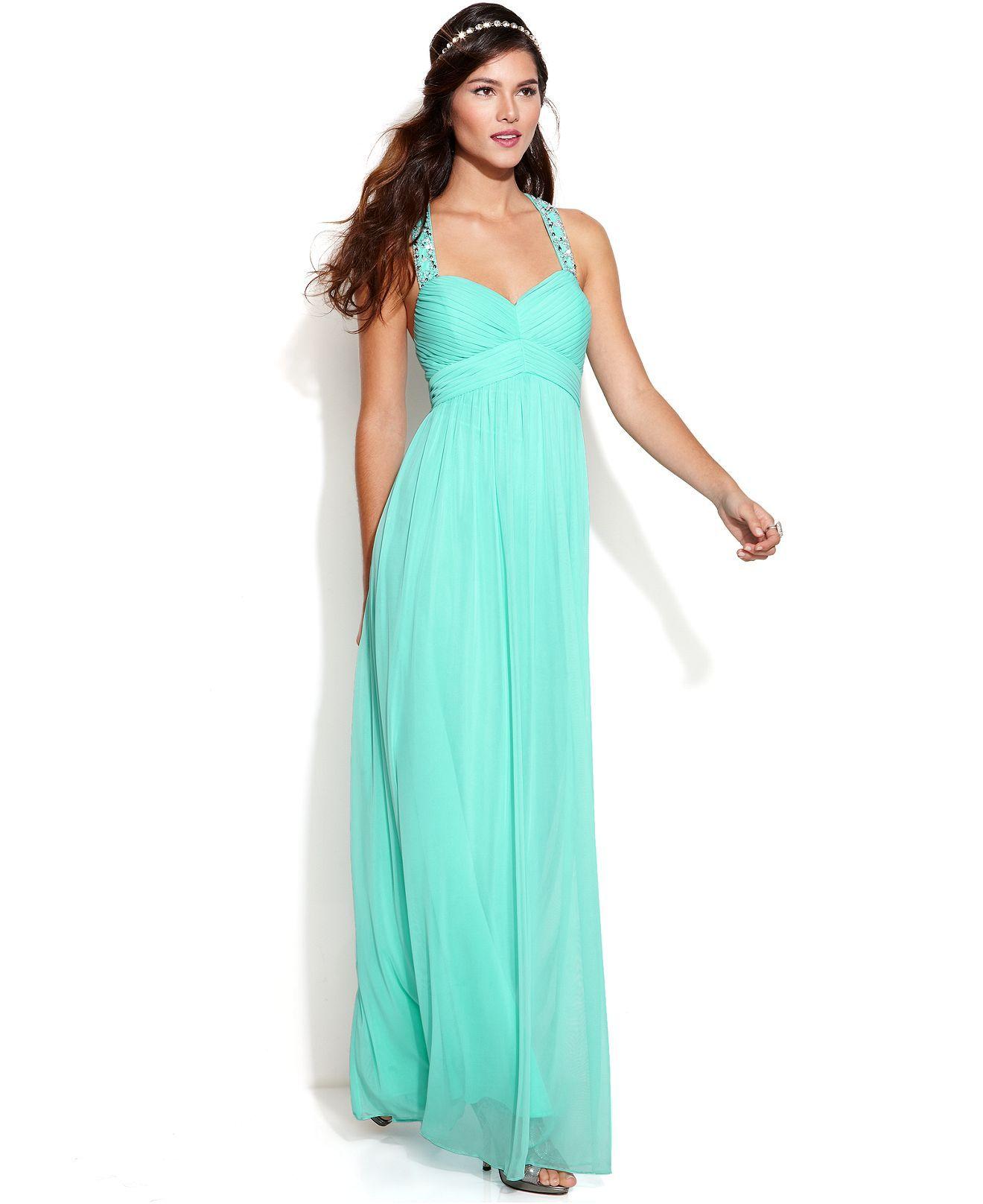 Betsy & Adam Sleeveless Pleated Beaded Gown - Women - Macy\'s | Sew ...