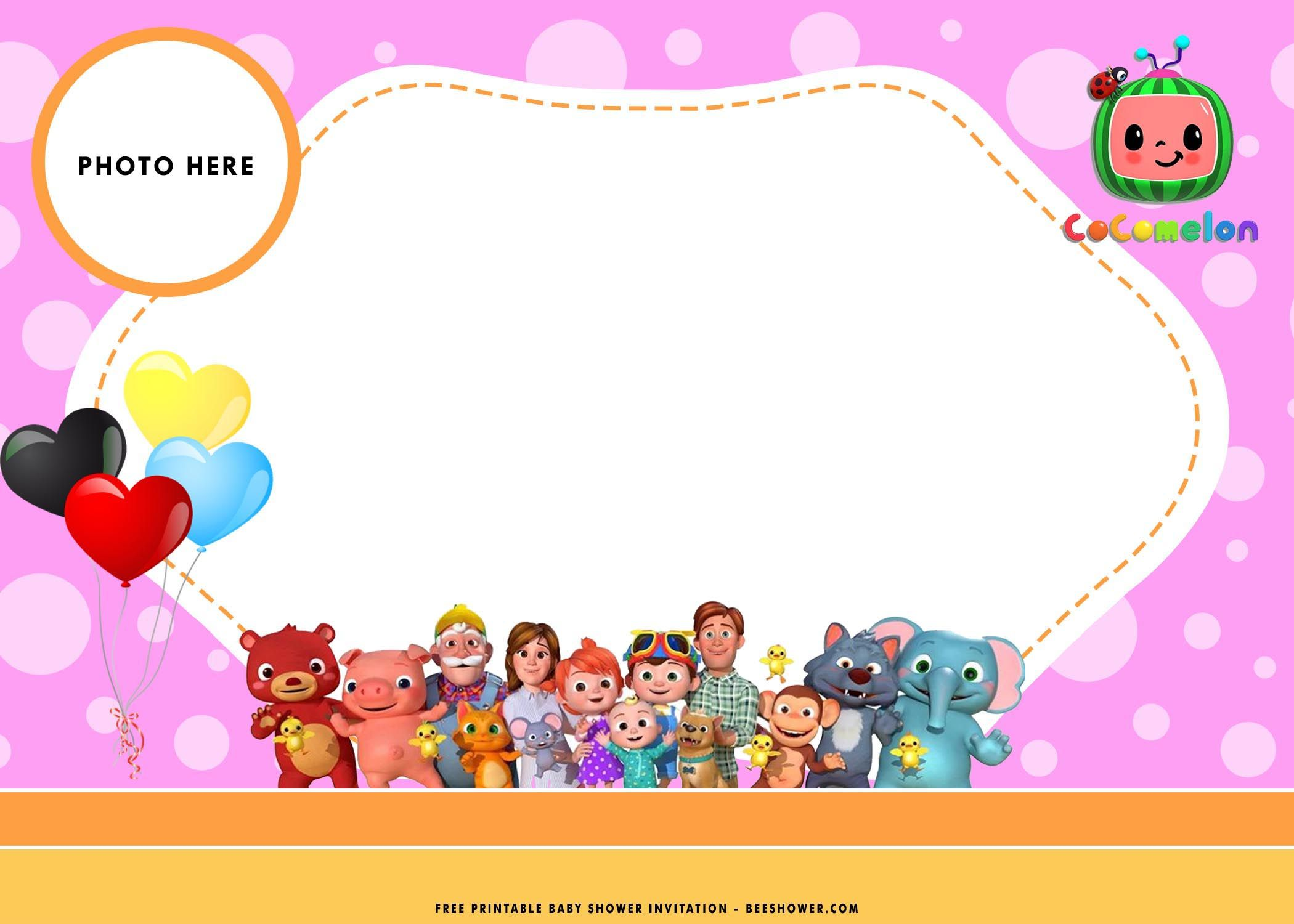 Free Printable Cocomelon Baby Shower Invitation Templ Free Printable Baby Shower Invitations Baby Birthday Invitation Card Baby Shower Invitation Templates