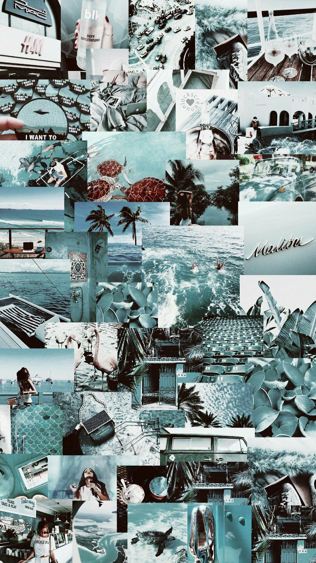 Aesthetic Wallpaper Collage Blue