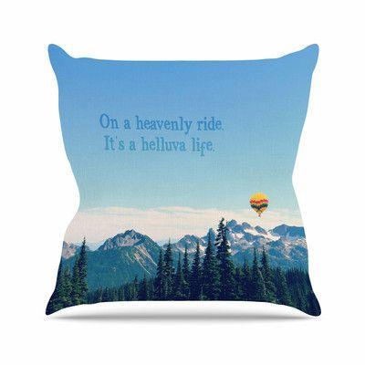 "KESS InHouse It's a Helluva Life Throw Pillow Size: 16"" H x 16"" W"