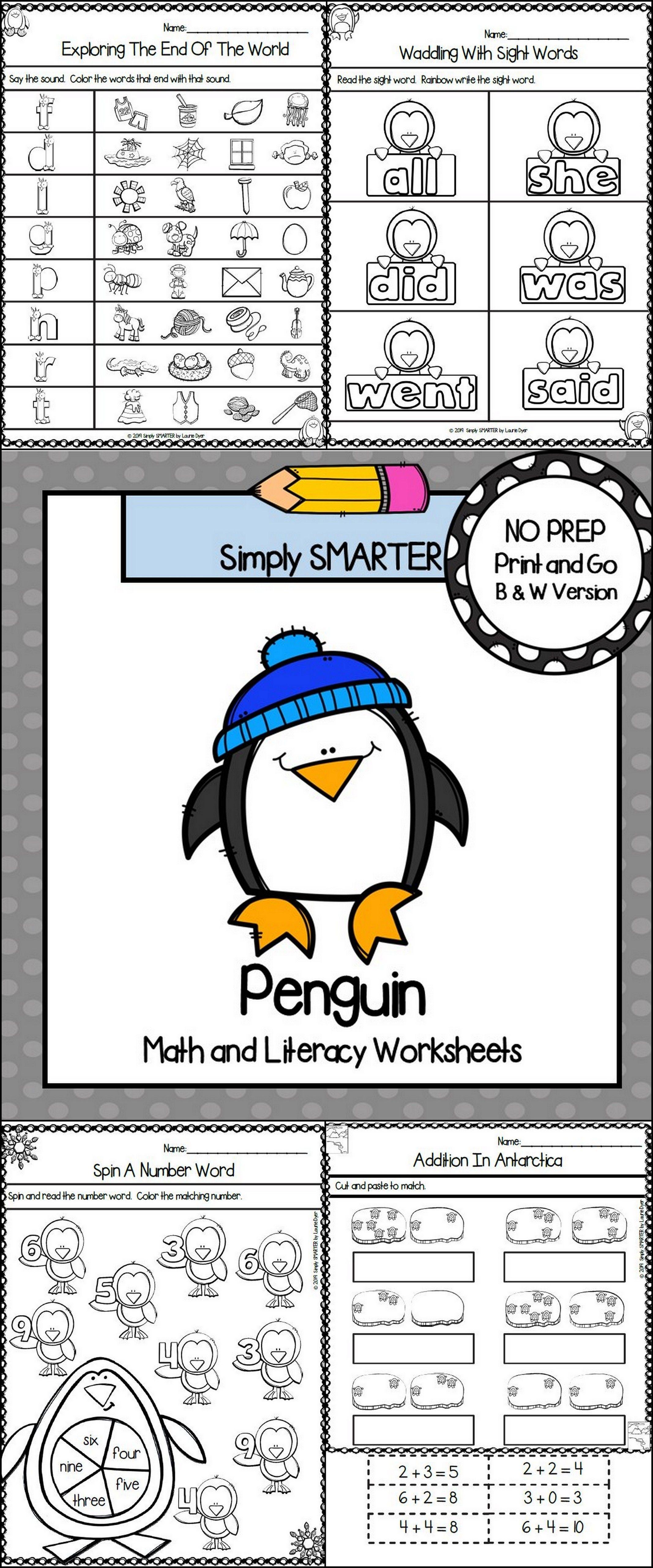 Penguin Themed Kindergarten Math And Literacy Worksheets