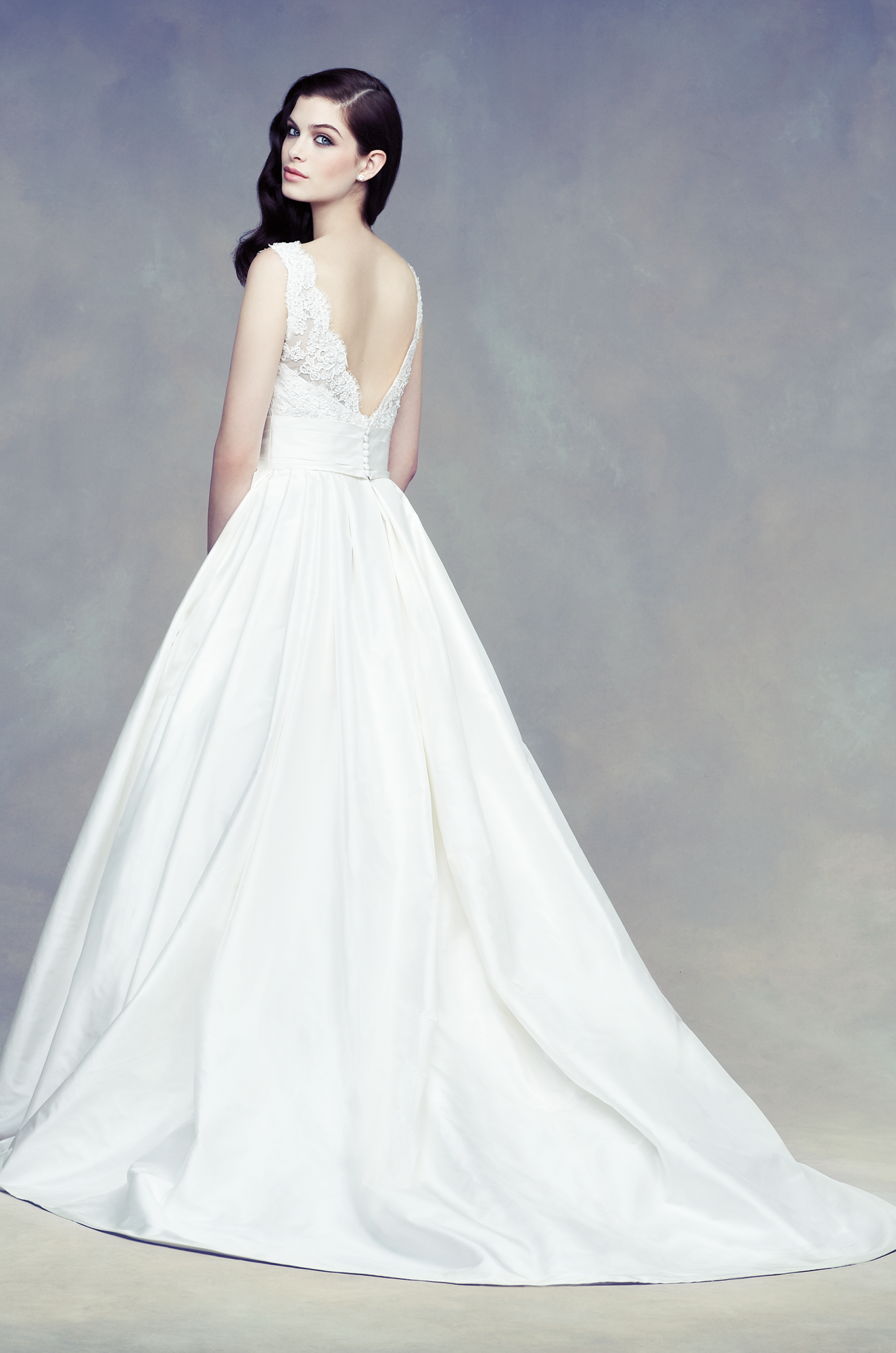 Re Embroidered Lace And Silk Dupioni Wedding Dress Back