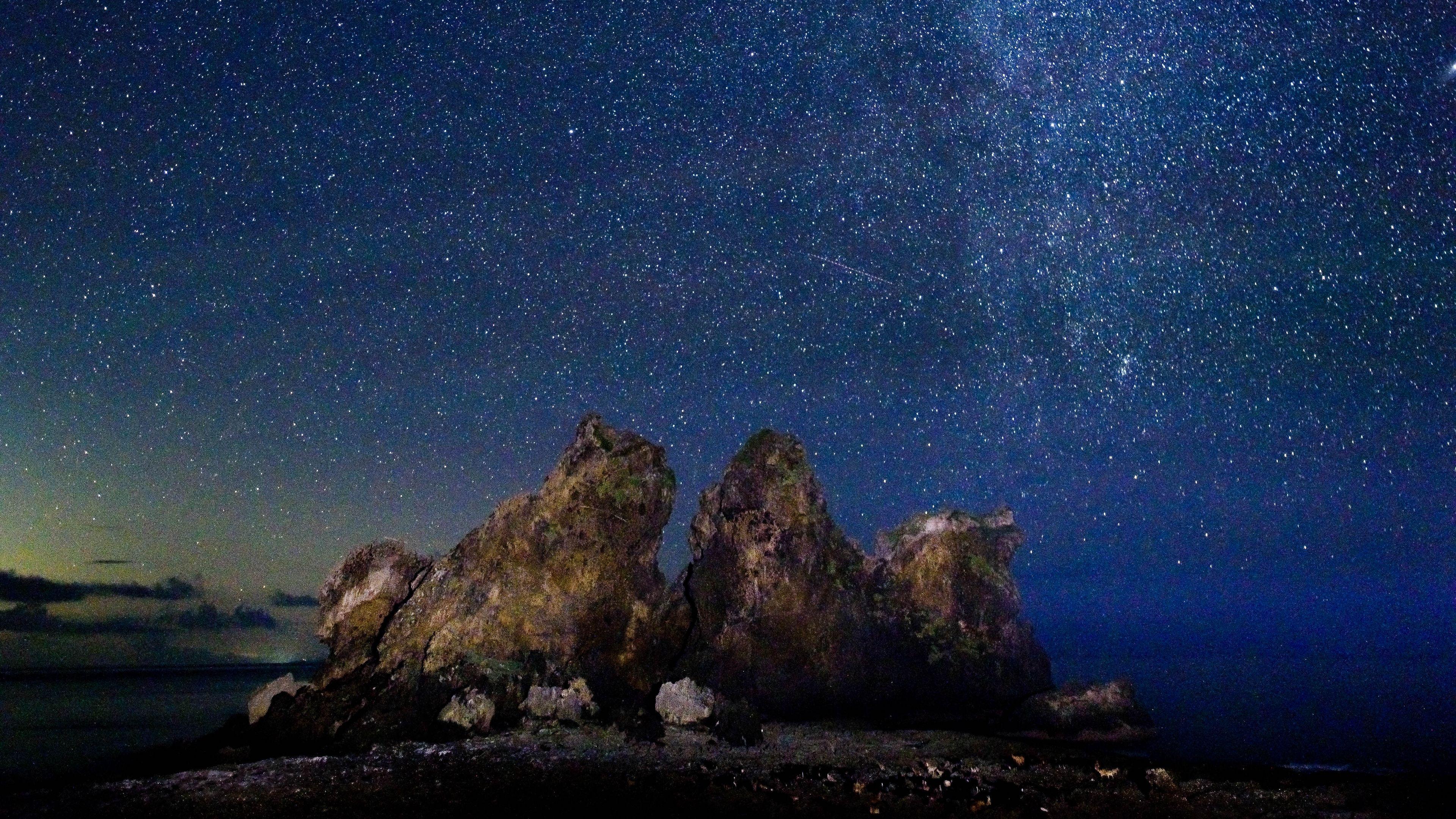 Starry Sky Milky Way Stars Rocks 4k Stars Starry Sky Milky Way Starry Sky Milky Way Sky