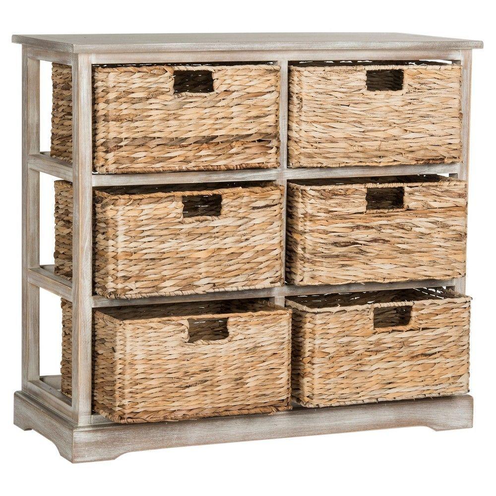Keenan Storage Chest With Wicker Baskets Winter Melody Safavieh