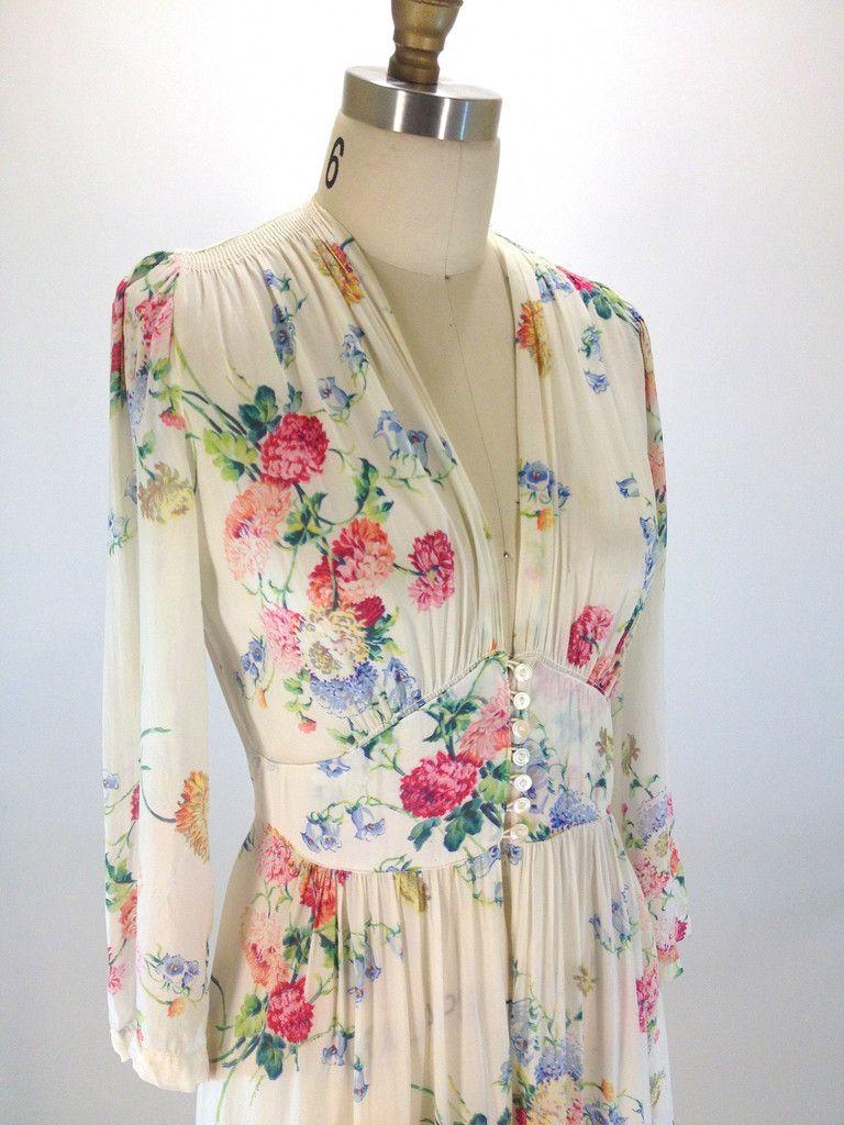 Vintage 1940 S Sheer Floral Maxi Dress Vintage Outfits Fashion Floral Maxi Dress [ 1024 x 768 Pixel ]