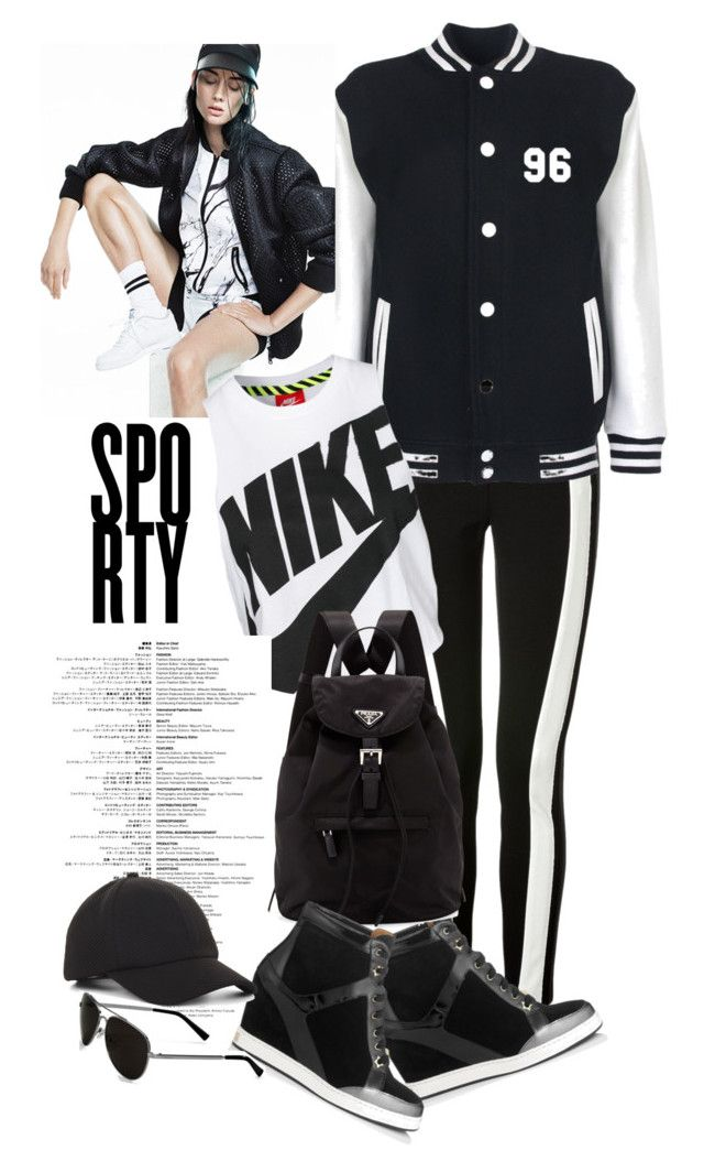 """Sporty B&W"" by nansg ❤ liked on Polyvore featuring DKNY, Jimmy Choo, NIKE, Prada, BCBGeneration, Calvin Klein, blackandwhite, sporty and athleisure"