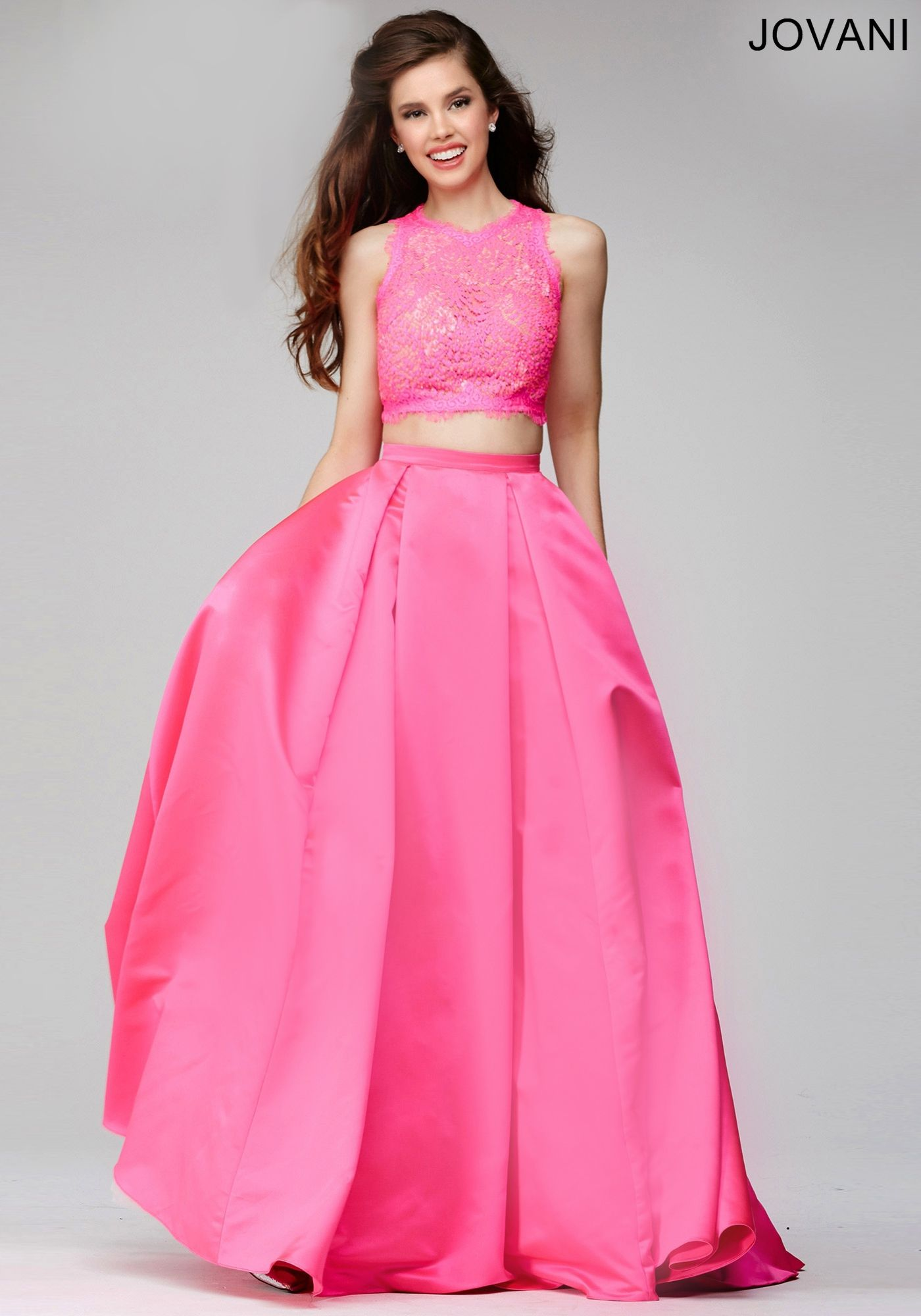 Gorgeous two-piece prom dress features A-line satin skirt and lace ...