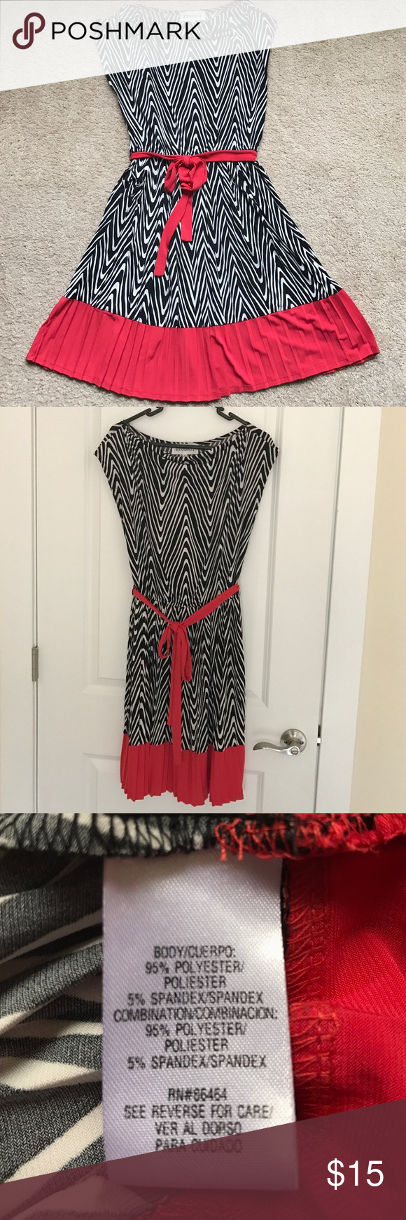 Beautiful flattering dress with red detail This feminine dress has an A cut that flatters any body type. It stretches and it's very comfortable. No iron needed! Looks great for work with black pumps studio I Dresses