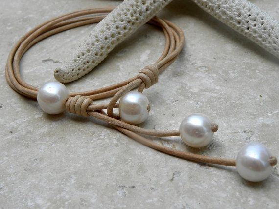 Pearls and Leather Necklace by TANGRA2009 on Etsy, $55.00