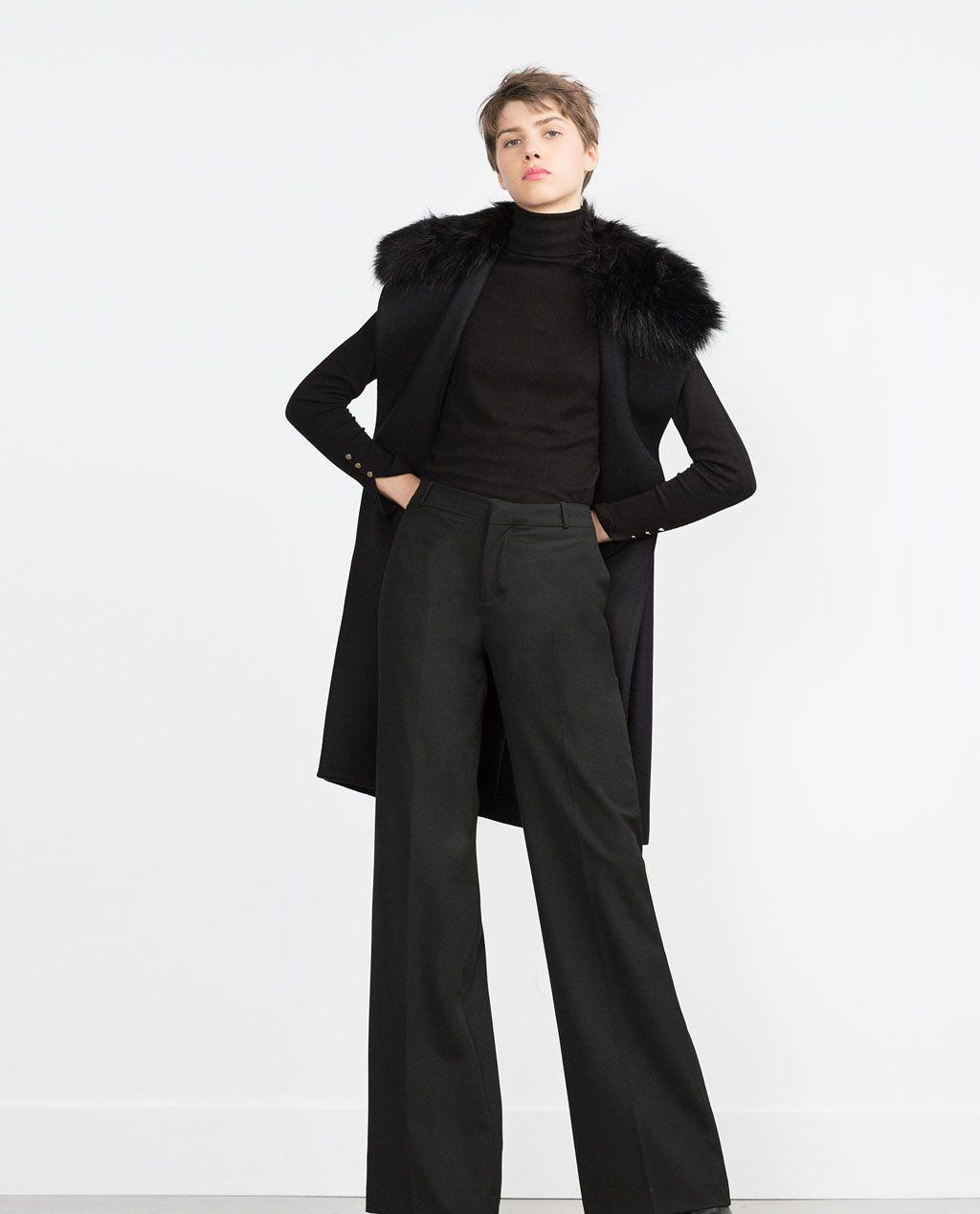 Fur All Outerwear WomanZara Collar View Long With Faux Waistcoat N8XZwPk0nO