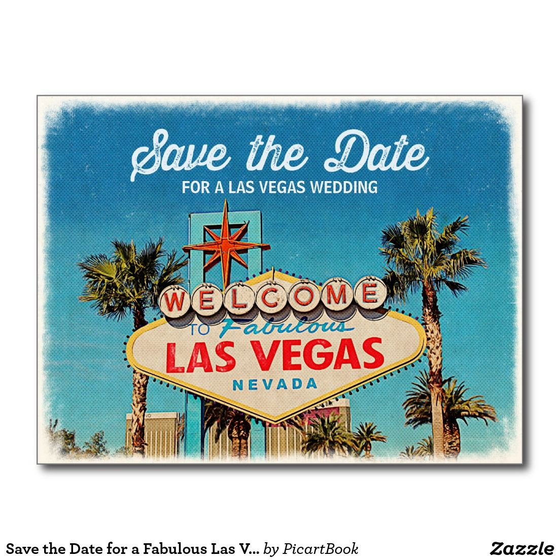 Save The Date For A Fabulous Las Vegas Wedding Postcard  Wedding