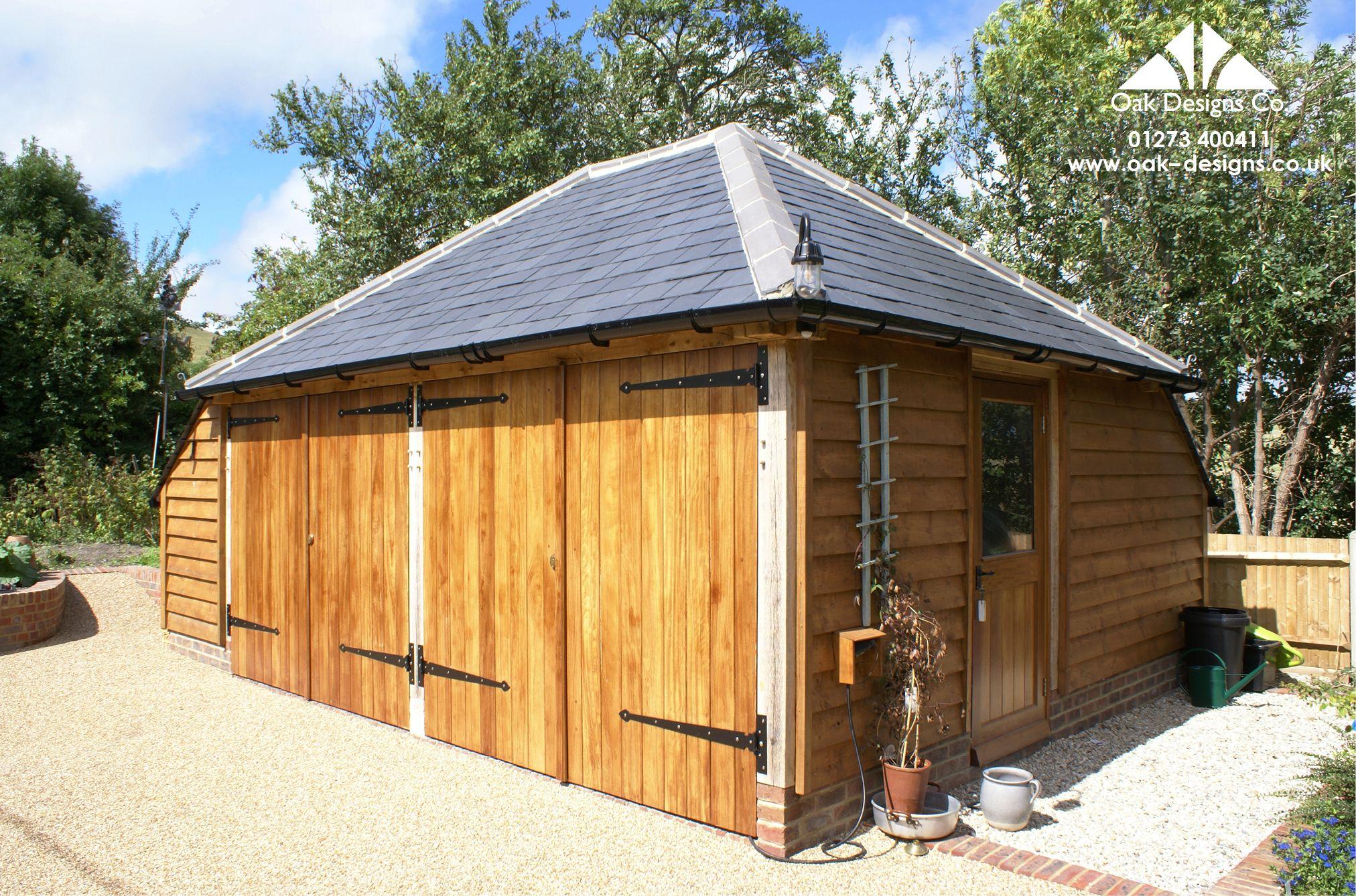slate roof garage with wine store & aisle Garage design