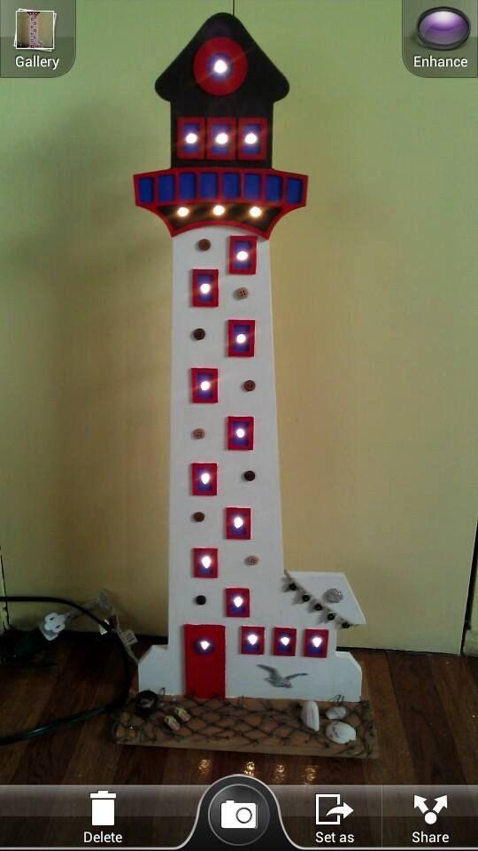 Light up wooden lighthouse