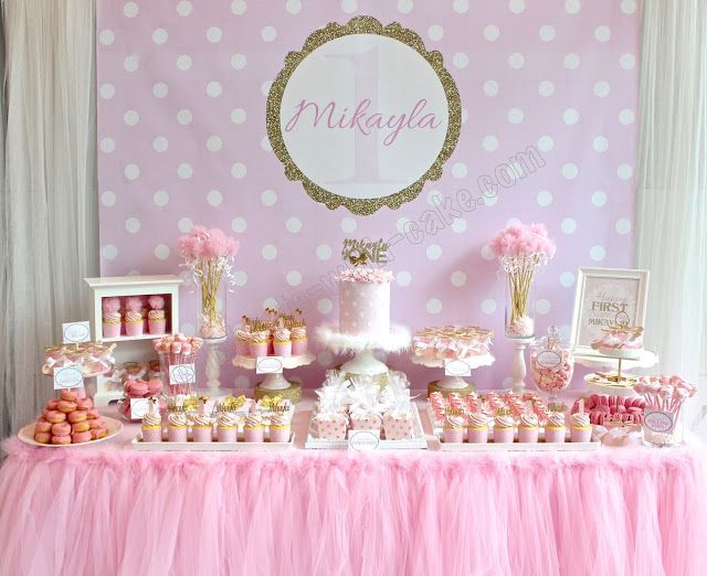 Polka Dot Themed Dessert Table Click On Post For More Pictures Cake Table Birthday Girl Baby Shower Decorations Wedding Candy Table