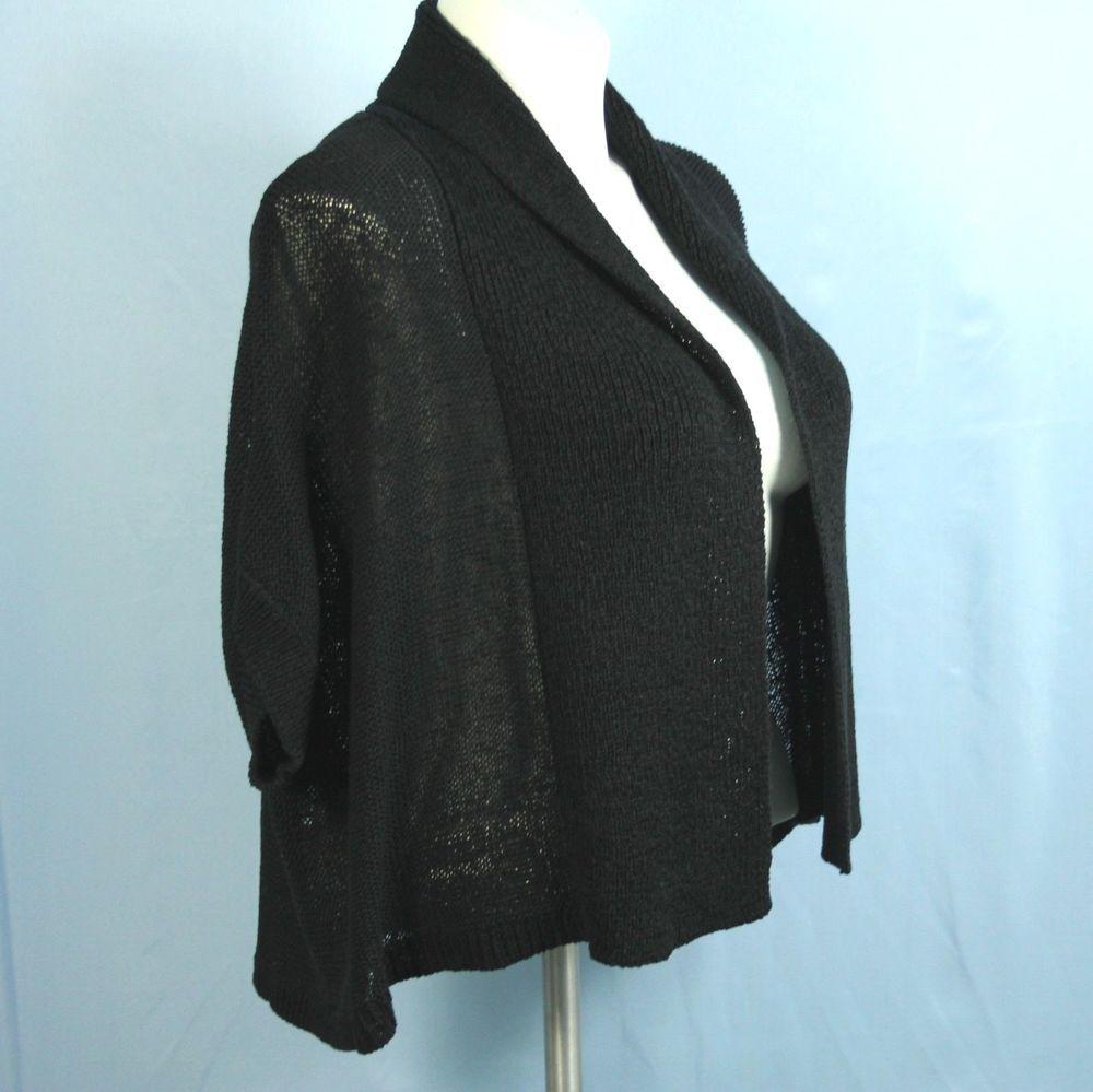 Calvin Klein Bloomingdales Black Cardigan 2X Plus Crop Shrug Short ...