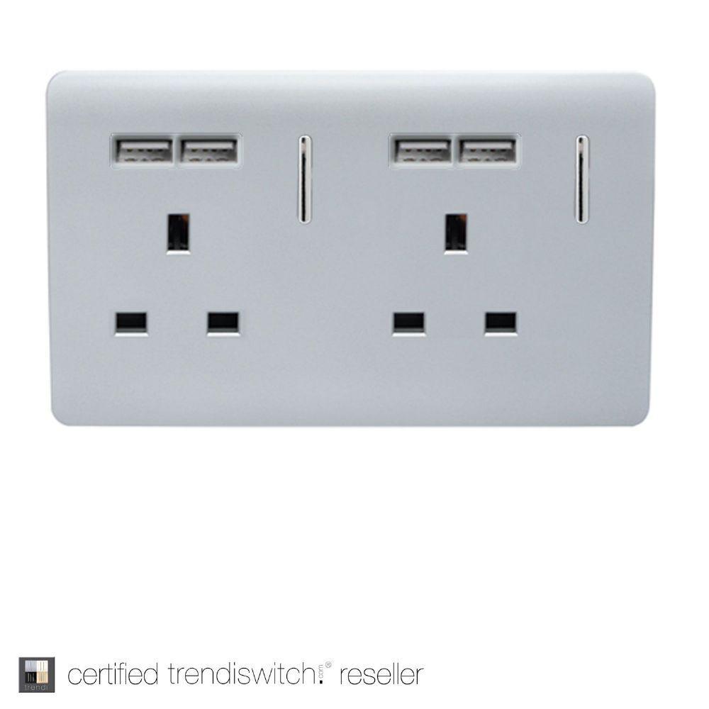 Gloss silver designer Trendi Switch USB double plug socket with ...