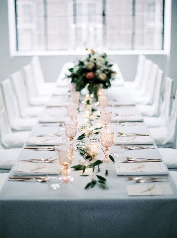lovely white and gray reception table setting | TABLE SETTINGS ...