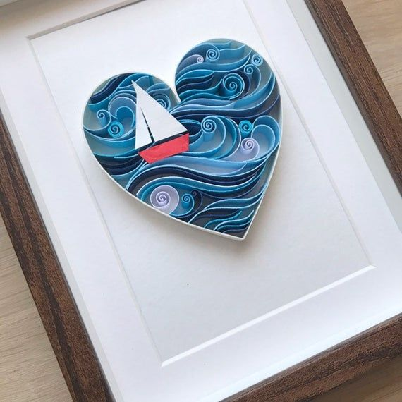 Anniversary Nautical Heart Quilling Love art 3D Paper | Etsy