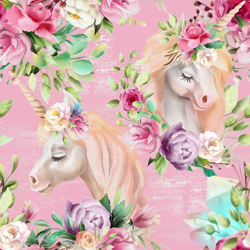 Zoomie Kids Avila Unicorn 10 L X 24 W Smooth Peel And Stick Wallpaper Roll Unicorn Wallpaper Peel And Stick Wallpaper Nursery Wallpaper