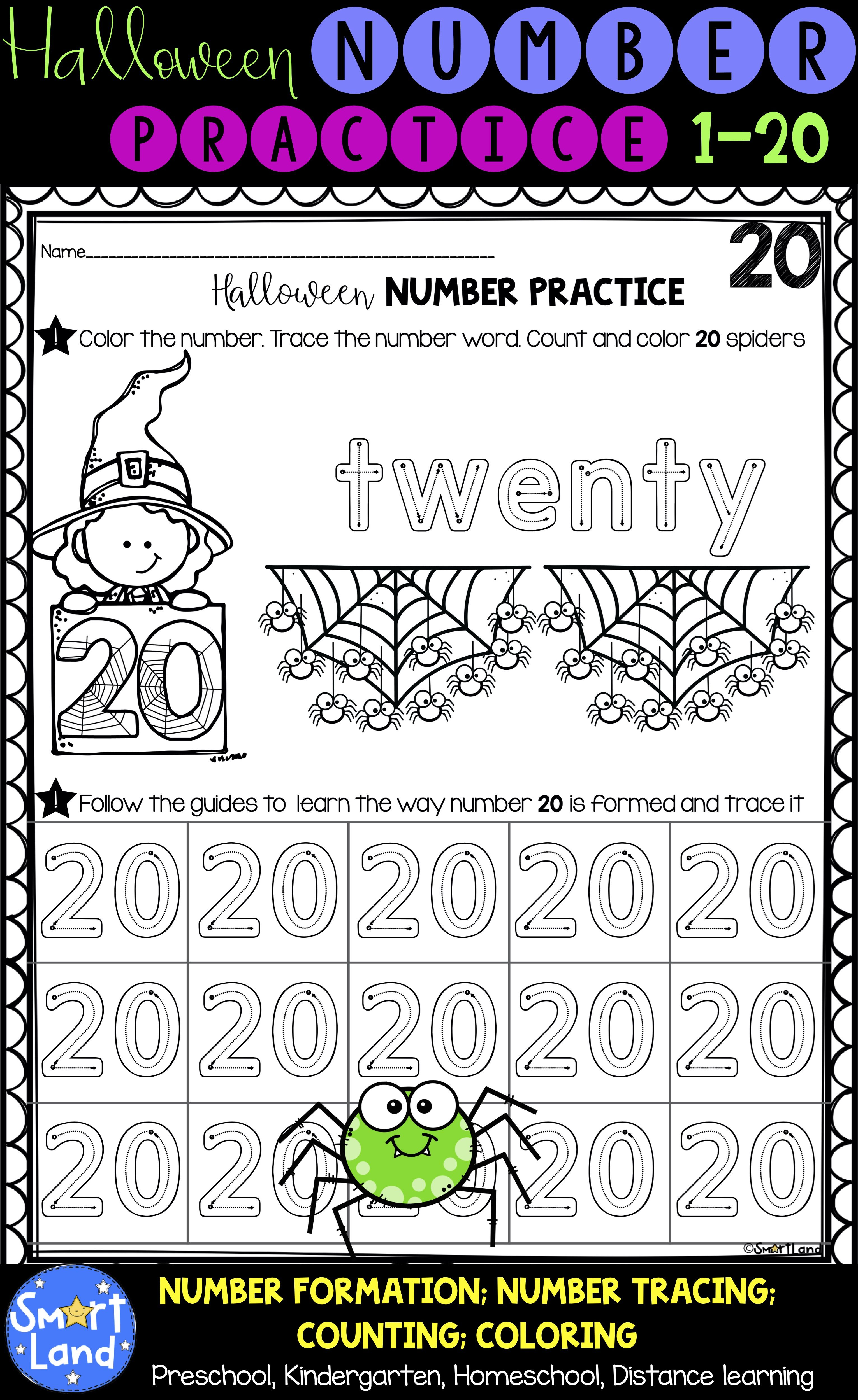 Halloween Numbers 1 20 Handwriting And Counting Worksheets Halloween Math Activities Halloween Math Halloween Worksheets [ 5000 x 3062 Pixel ]