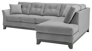Houzz Gray Microfiber Sectional Transitional Sectional Sofas 2