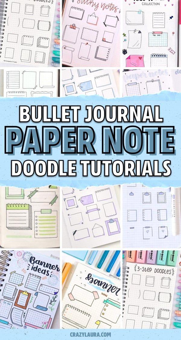 Best Bullet Journal Paper Note Doodles For Inspiration - Crazy Laura