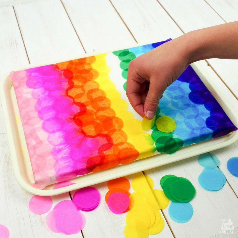 tissue paper rainbow canvas art bleeding tissue paper canvas projects 7244