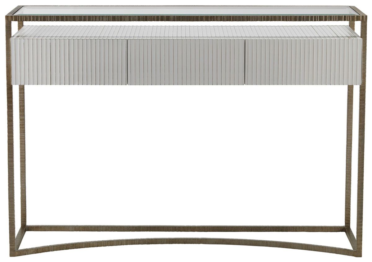 Striata Console Table With Fluted Drawers Tables Furniture Decorus