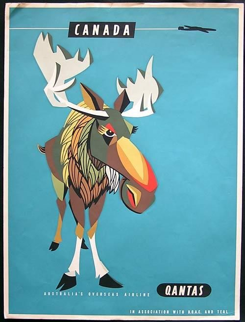 QANTAS AIRWAYS 1950s Airline Travel poster Canada