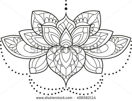 Vector Illustration Of A Mandala Lotus Flower In Black And