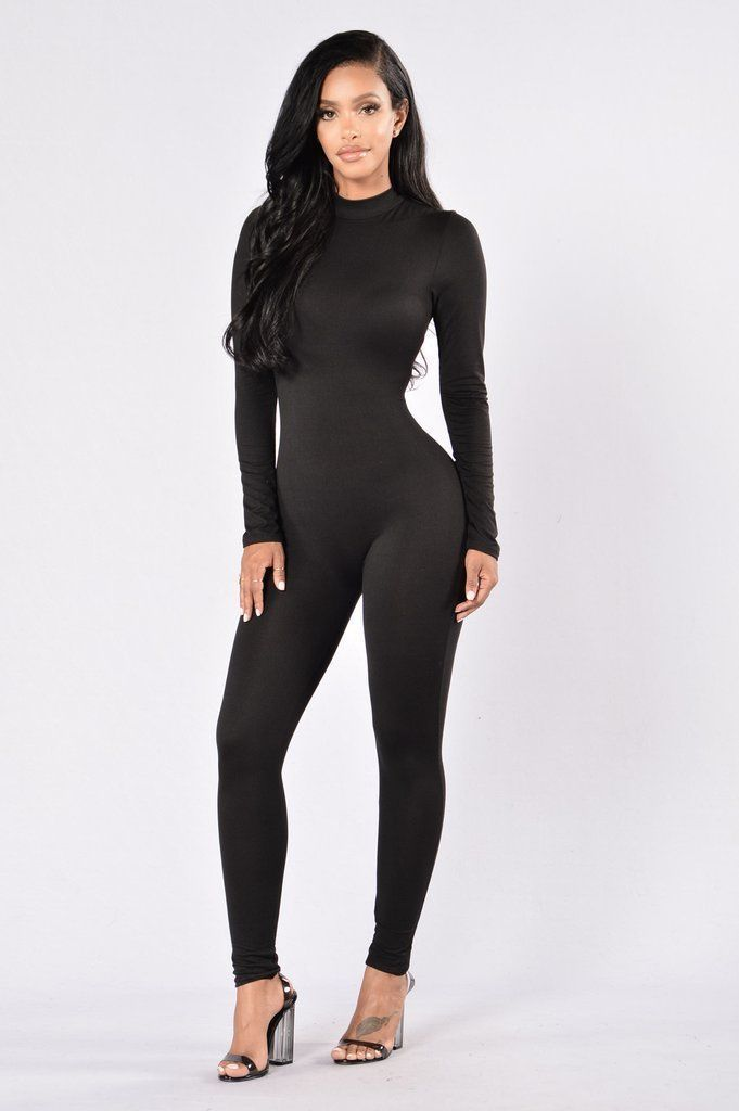 Sexy Long Sleeve Black Turtleneck Jumpsuit Bodysuit. Sizes Small-3XL 80eebb893