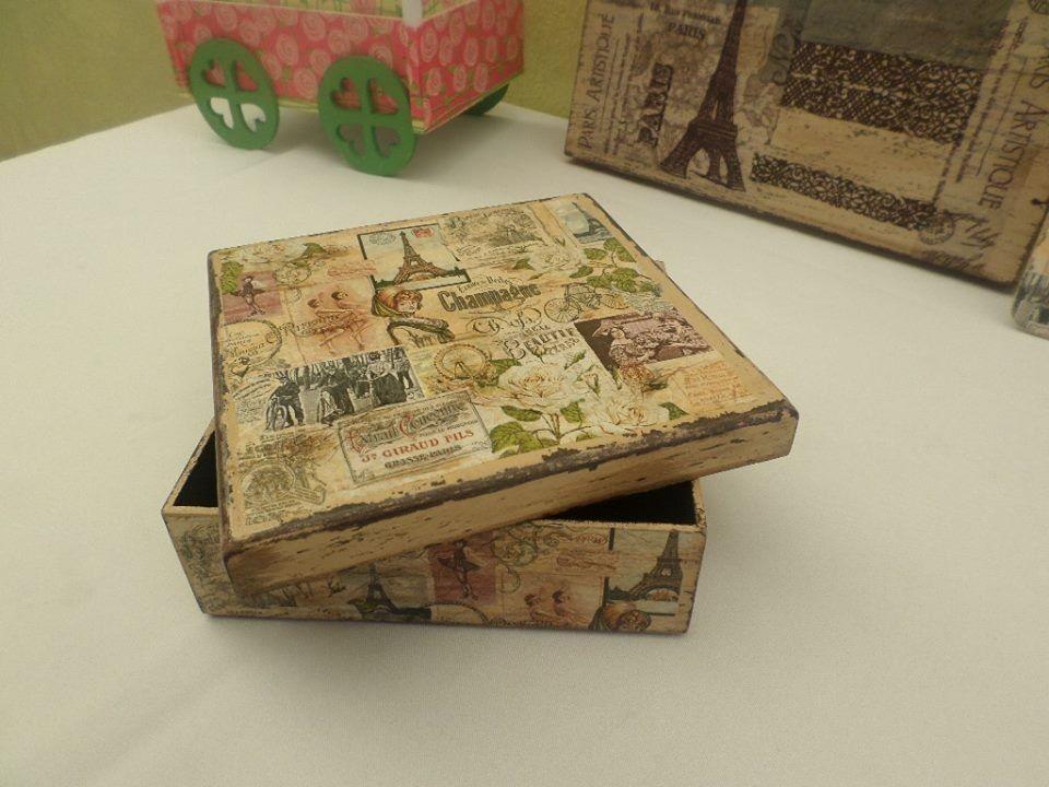 Caja for Decoupage con servilletas en muebles