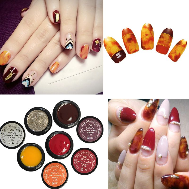 Fy048 Ekou Gl Amber Glue Nail Polish Hand Painted Adhesive 6 Color Transpa Colorful Durable