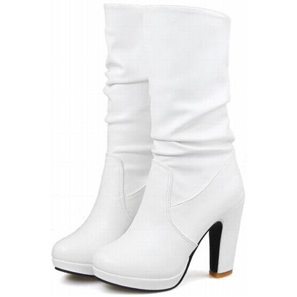 Mid Calf Platform Chunky Heel Boots