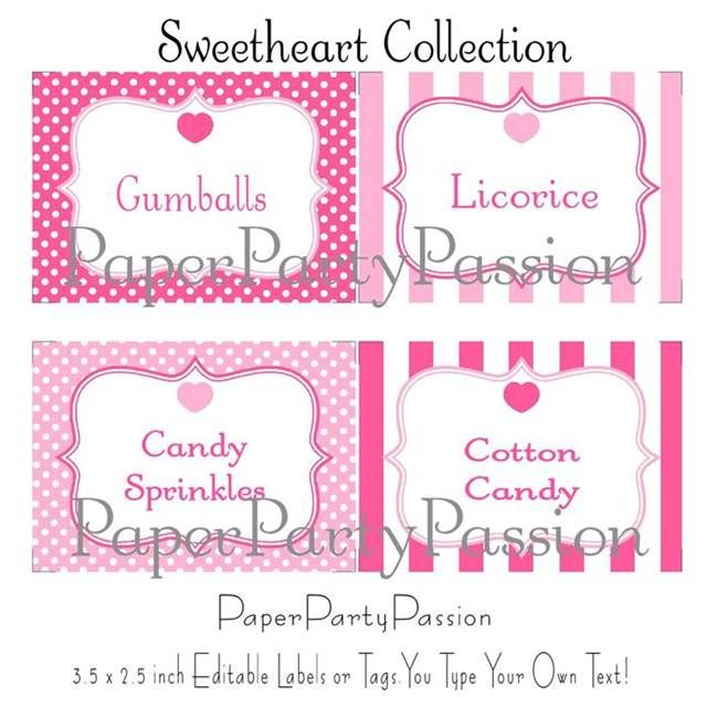 candy buffet labels template free - Bing Images Party decoration