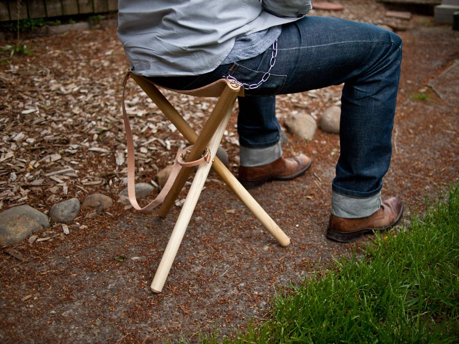 Great Camp In Style With A DIY Folding Tripod Stool Nice Design
