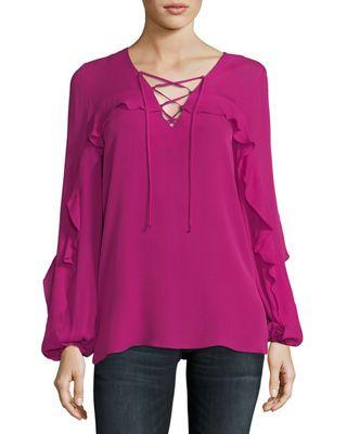 a4d7ffb54eaed Kobi Halperin Corrie Long-Sleeve Lace-Up Silk Blouse