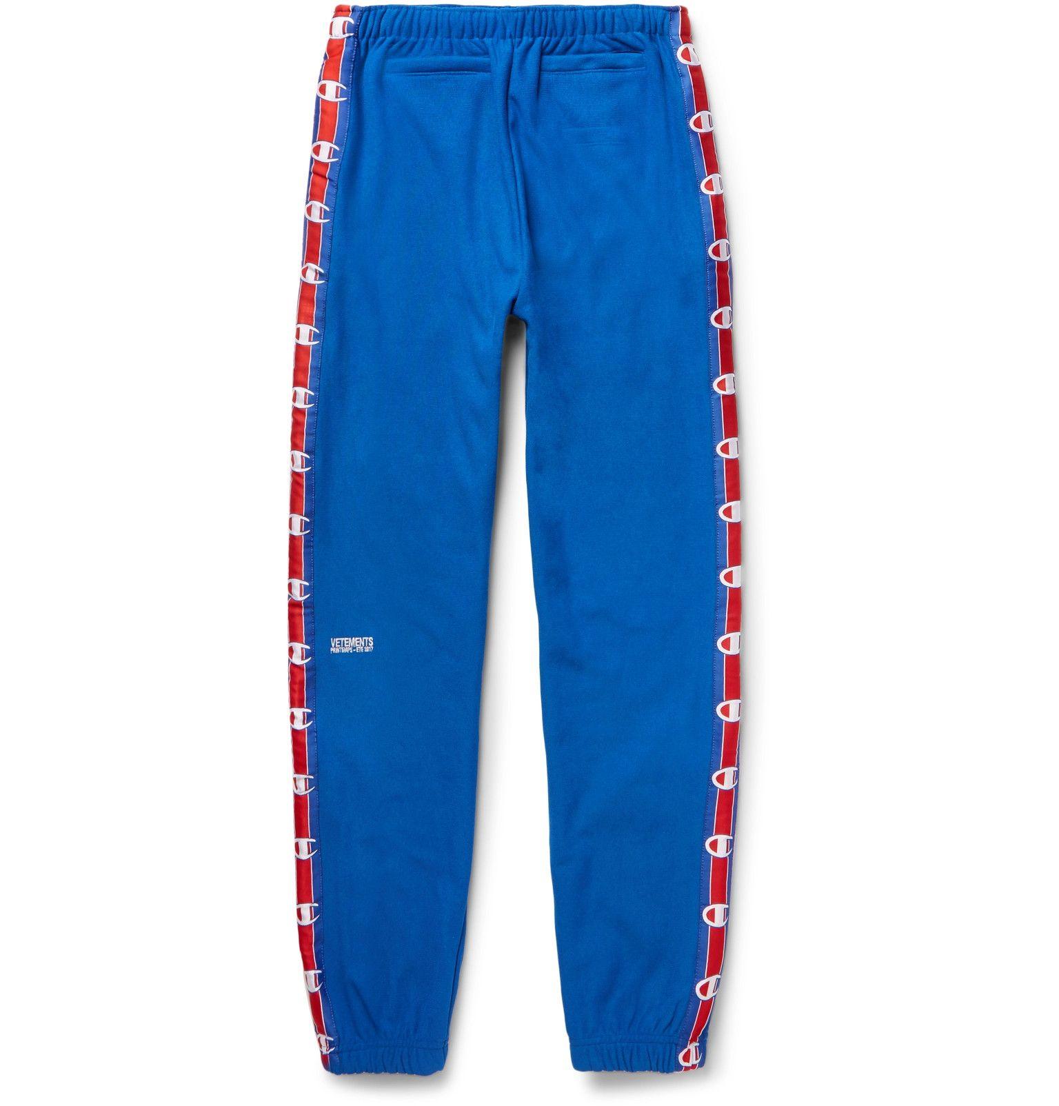 5b722fc43f7e73 Vetements - + Champion Slim-Fit Loopback Cotton-Blend Jersey Sweatpants