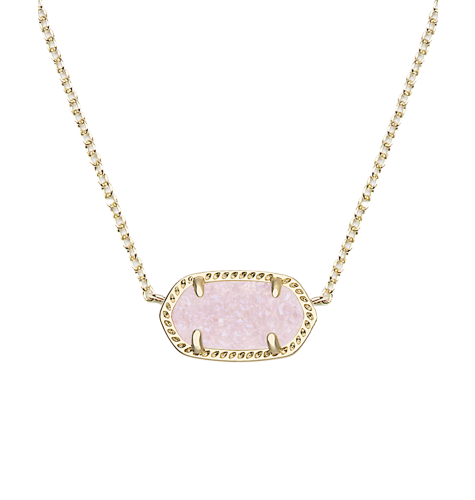 Elisa Pendant Necklace In Light Pink Drusy Pink And Gray
